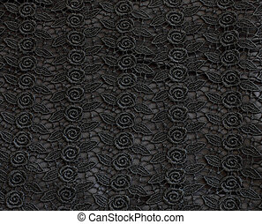 Detail of black lace pattern fabric