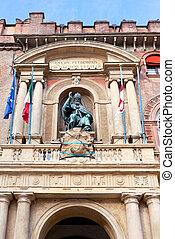 bronze statue in palazzo d'accursio in Bologna - statue of...