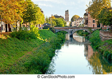 view of bridge Brenta River in Padua city, Italy