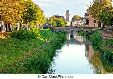 view of bridge Brenta River in Padua city, Italy