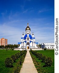 Southern entrance to the Church of St Valentine, Sumy,...
