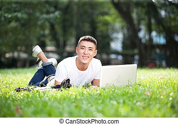 young handsome asian student guy - Portrait of young...