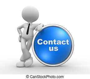 Contact us - 3d people - man, person with a button Contact...