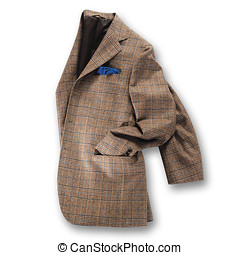 Brown tweed jacket - Elegant brown tweed jacket displayed...