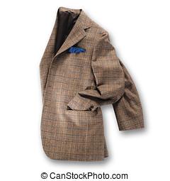 Brown tweed jacket - Elegant brown tweed jacket displayed...