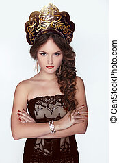 Russian Beauty Attractive female wearing in kokoshnik Womans...