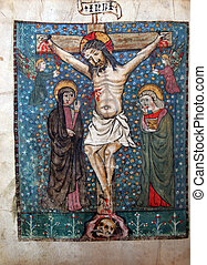 Crucifixion, Jesus dies on the cross. Close up of old Holy...