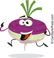 Cartoon Happy Turnip Character Running - Illustration of a...