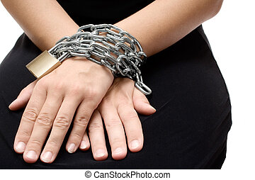 Bound Woman - Woman in a black dress bound with chain and...