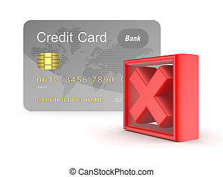 Credit card and red cross mark.Isolated on white...