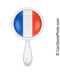 Loupe with french flag.Isolated on white background.3d...