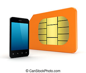 Modern mobile phone and sim card.Isolated on white...