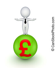 3d small person with pound sterling sign - 3d small person...