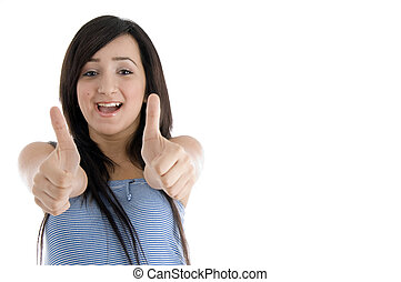 happy teenager female showing goodluck sign - happy teenager...