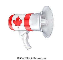 Loudspeaker with canadian flagIsolated on white background3d...
