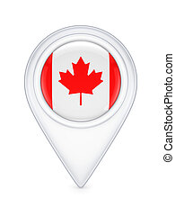 Icon with canadian flag.Isolated on white background.3d...