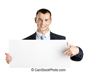 Business man points at paper copy space
