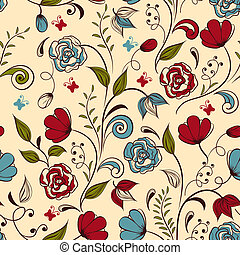 Vector Seamless Spring Pattern - Vector seamless floral...