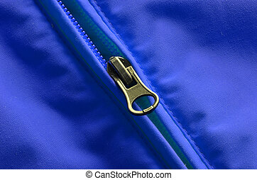 Coat Zipper - Closeup of zipper on coat with texture