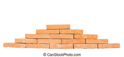 Stack of red bricks isolated on white background
