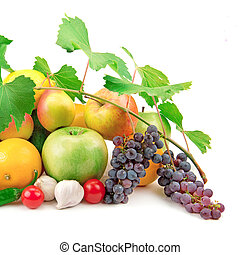 set of fresh fruit and vegetables