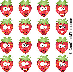 Strawberries with emotions - Scalable vectorial image...