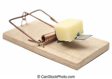 Mousetrap - Wooden mousetrap with cheese isolated on a white...