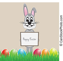 easter bunny signboard - easter bunny hold signboard...
