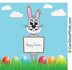 easter bunny hold signboard colorful eggs