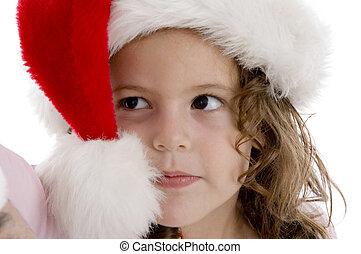 little girl wearing christmas hat - cute little girl wearing...