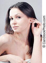 Beautiful young woman beauty portrait - Beautiful young...
