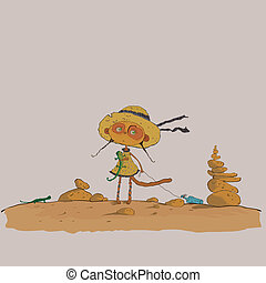 hilarious meerkats girl in the desert vector