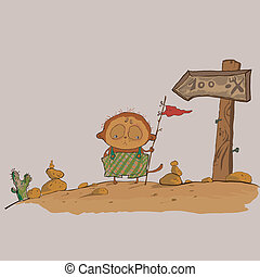 hilarious meerkats boy in the desert vector