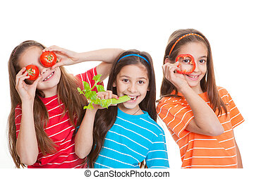 healhty eating kids concept, children with vegetables