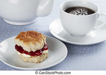 Scone and Tea - English scones with cream and strawberry jam...