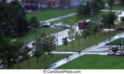 Road Tilt Shift effect - aerial view of the city, time lapse...