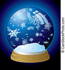 snow globe flake - Illustrated snow globe with a wooden base...