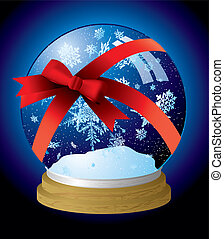 snow globe ribbon - Illustrated snow globe with a red ribbon...