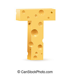 Letter made of Cheese - Cheese font T letter. Illustration...