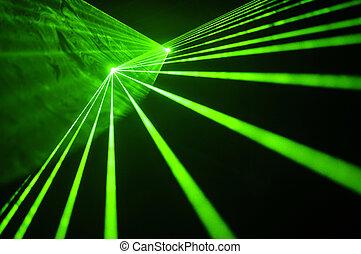 Laser - Color laser beams on a black background.