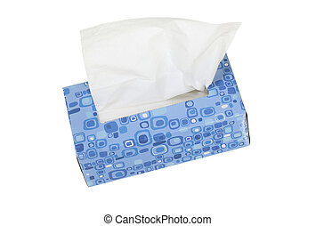 Box with Facial Tissues - Blue box with facial tissues;...