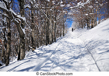Snow-covered road - Man walking on the snow mountain road