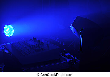 PA Technics in blue light.