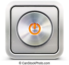 power button - Vector illustration of the detailed round...