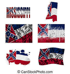 Mississippi flag collage - Mississippi flag and map in...