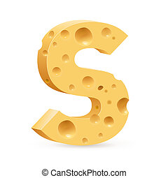 Letter made of Cheese - Cheese font S letter Illustration on...