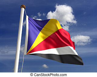 Seychelles Flag - Seychelles flag with clipping path