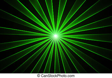 Green laser effect on a black background