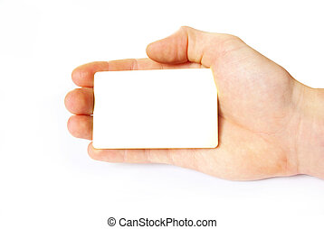business card - Man hand holding a blank business card