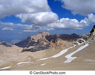 Aladaglar Mountains and landscape on blue sky